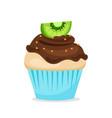 sweet cupcake with chocolate glaze vector image