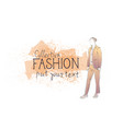 Fashion collection of clothes male model wearing vector image