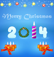 color greeting card with Christmas wreath and vector image vector image