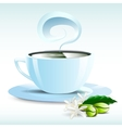 a white cup of hot coffee grain pairs vector image