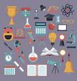 color background with set school elements icons vector image