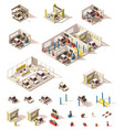isometric low poly car icon set vector image