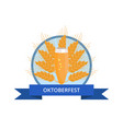 oktoberfest logo with pilsner glass of beer on ear vector image