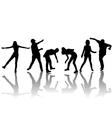hand drown children shilhouettes vector image