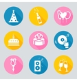 Set of 9 birthday web and mobile icons in vector image