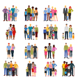 Family Members Groups Flat Icons Set vector image