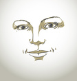 Monochrome hand-drawn silhouette of romantic woman vector image