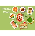 lunch meal dishes icon for healthy food design vector image