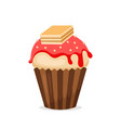 sweet muffin or cupcake icon vector image