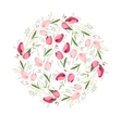 Floral spring template with cute bunches of tulips vector image