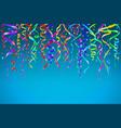 colorful confetti on blue background celebration vector image