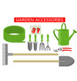 gardening work tools flat icons set gardening vector image
