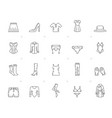 line woman clothing icons vector image