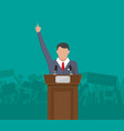 public speaker on podium in front of a crowd vector image