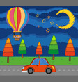 scene with kids riding balloon over the road at vector image
