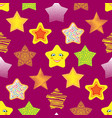 shiny stars different style seamless pattern vector image