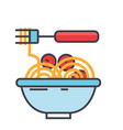 spaghetti bolognese with meat balls italian vector image