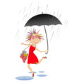 woman with umbrella jumping over the puddles isola vector image