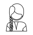 silhouette half body woman with braid vector image