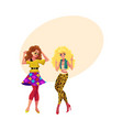 two girls women friends dancing at 80s retro vector image