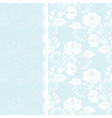 Lace rose border on blue background vector image vector image