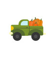 Truck with pumpkins vector image