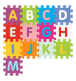 alphabet from A to M written with puzzle vector image