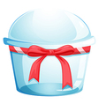An empty disposable container with a red ribbon vector image vector image