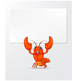 Cartoon lobster holding banner vector image