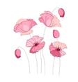 Stylized pink poppy isolated on white background vector image vector image