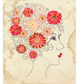 Fashion girl floral head on the paper vector image