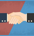 handshake on red blue background business vector image