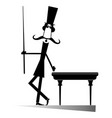 mustache man in the top hat playing a pool isolate vector image