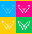 wings sign four styles of icon on vector image