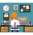 Flat design of room with workspace Girl at work vector image