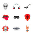 rock n roll sticker icons set cartoon style vector image