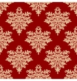 Floral beige on red seamless pattern vector image