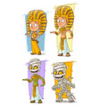 cartoon egyptian pharaoh and mummy character set vector image