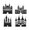cartoon silhouette black medieval old castles icon vector image