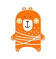 cute orange teddy bear standing funny lovely vector image