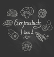 Eco background with vegetables on the chalkboard vector image