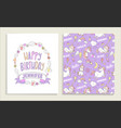 greeting card for happy birthday with unicorns vector image