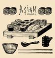hand drawn asian menu hand vector image