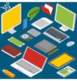 Isometric workplace with a laptop desktop vector image