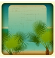 Retro background with seaside and palm trees vector image