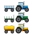 Set of farm tractors with wagons vector image