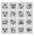 black agriculture and farming icons set vector image vector image