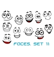 Funny happy faces cartoon characters vector image vector image