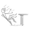 cartoon of man rocking and falling with chair vector image