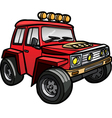 Cartoon red jeep Isolated vector image